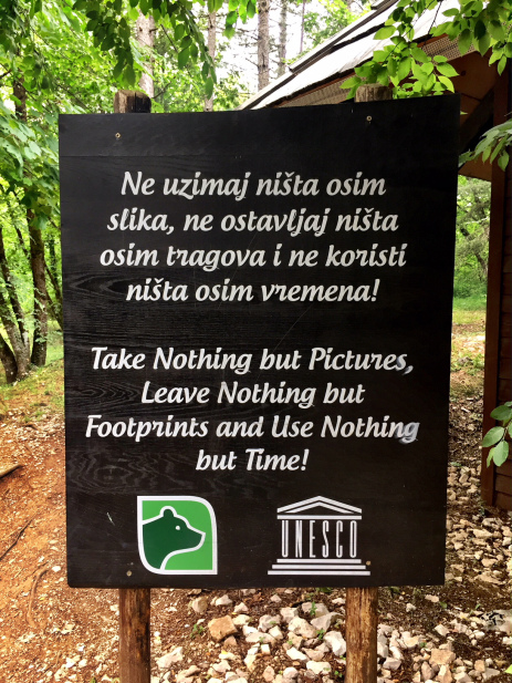 Plitvice Lakes - beautiful quote by Chief Seattle at the entrance of the Park